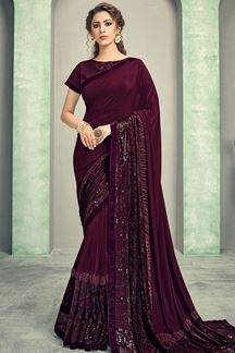 Picture of Cocktail Party- Deep Wine Color Lycra Saree