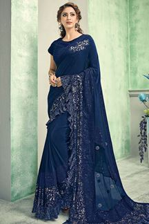 Picture of Royal Blue Colored Lycra Designer Saree