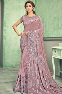 Picture of Unique Pink Colored Lycra Designer Saree