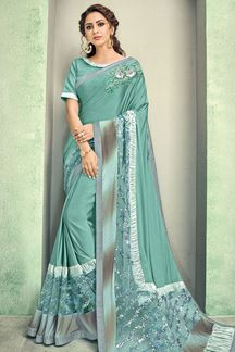 Picture of Beautiful Ocean Sea-Green Color Lycra Saree
