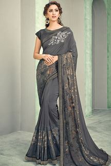 Picture of Gorgeous Grey Colored Lycra Designer Saree
