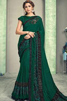 Picture of Superb Green Colored Designer Lycra Saree
