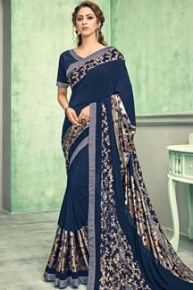 Picture of Stunning Blue Colored Lycra Designer Saree