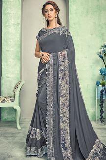 Picture of Trendy Grey Colored Lycra Designer Saree
