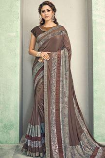 Picture of Designer Lycra  Saree In Brown Color