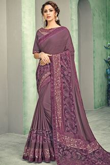 Picture of Amazing Mauve Colored Lycra Saree