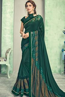 Picture of Glamour Green Color Lycra Saree