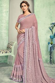 Picture of Onion Pink Designer Lycra Saree