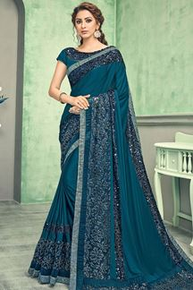 Picture of Gorgeous Teal Blue Color Lycra Saree
