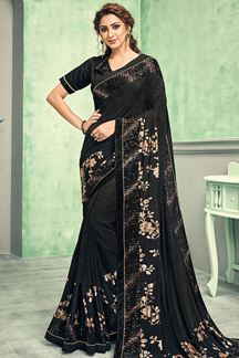 Picture of Designer Black color Lycra Saree