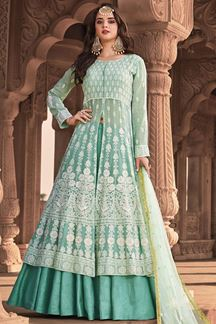 Picture of Designer Green Colored Lucknowi Work Georgette Suit