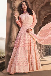Picture of Light Pink Colored Designer Lucknowi Work Suit