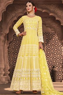 Picture of Pastel Yellow Colored Designer Lucknowi Work Georgette Suit