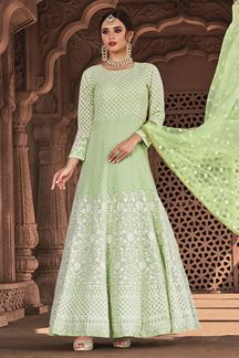 Picture of Light Green Colored Designer Lucknowi Work Georgette Suit