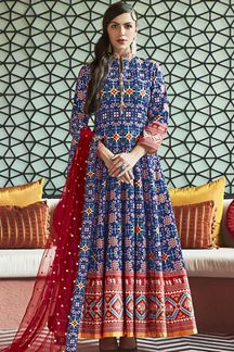 Picture of Designer Partywear Blue Colored Silk Anarakali Suit