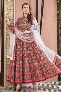 Picture of Designer Partywear Red Colored Silk Anarkali Suit