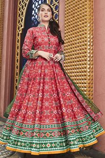 Picture of Designer Partywear Pink Colored Silk Anarkali Suit