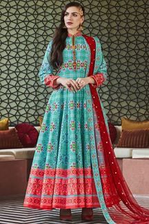Picture of Designer Partywear Sky Colored Silk Anarkali Suit