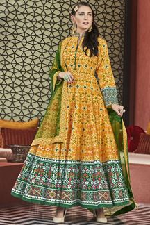 Picture of Designer Partywear Golden Yellow Colored Silk Anarkali Suit
