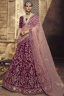 Picture of Gorgeous Wine Colored Georgette Lehenga Choli