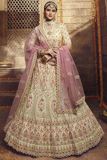 Picture of Best Cream Colored Organza Designer Lehenga Choli