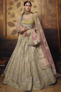 Picture of Embroidered Golden Soft Net Gota Silk lehenga Choli