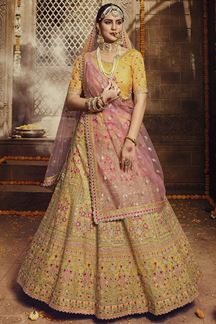 Picture of Yellow Colored Organza Embroider Lehenga Choli