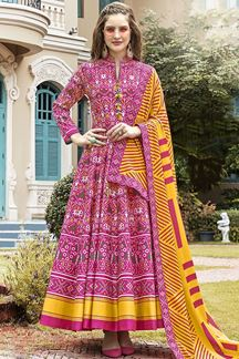Picture of Designer  Pink Colored Patola Silk Anarkali Suit