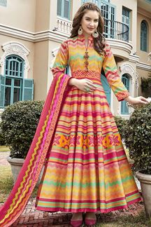 Picture of Designer  Multi- Colored Patola Silk Anarkali Suit