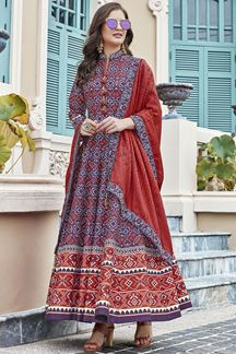 Picture of Designer Blue Colored Patola Silk Anarkali Suit