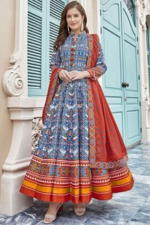 Picture of Designer Sky Blue  Colored Patola Silk Anarkali Suit