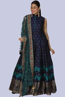 Picture of Marvellous Navy Blue Designer Partywear Anarkali Suit