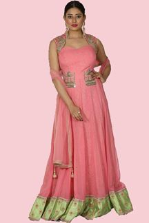 Picture of Arresting Baby Pink Colored Anarkali Suit