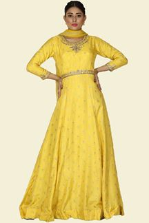 Picture of Beautiful Yellow Color Party wear Anarkali Suit