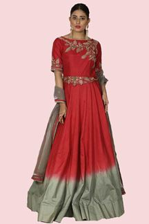 Picture of Prominent Grey-Pink Colored Partywear Anarkali Suit