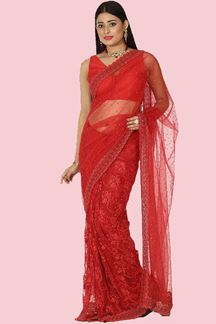 Picture of Sensational Red Colored Party Wear Embroidered Net Saree