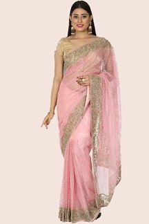 Picture of Blissful Baby Pink Colored Party Wear Net Saree