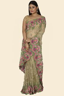 Picture of Imposing Mehendi Green Colored Net Saree