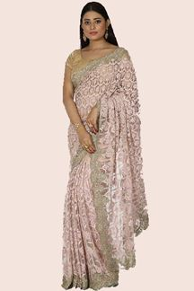 Picture of Impressive Light Peach Colored Netted Saree