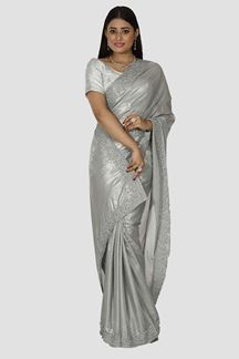 Picture of Capricious Grey Colored Partywear Shimmer Georgette Saree