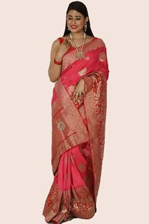 Picture of Gleaming Shaded Pink & Red Colored Banarasi Silk Saree