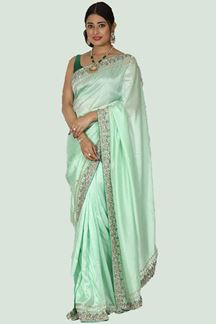 Picture of Exceptional Sea Green Colored Embroidered Saree