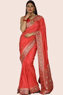 Picture of Preferable Coral Colored Partywear Embroidered Saree