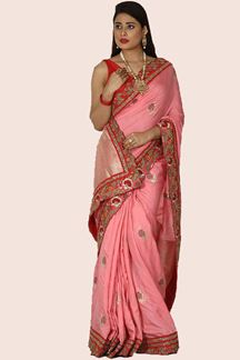 Picture of Gorgeous Pink Colored Partywear Saree