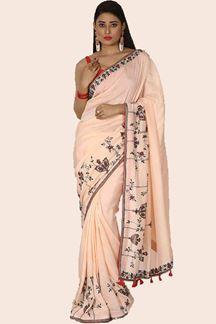 Picture of Lovely Light Peach Colored Party Wear Silk Saree