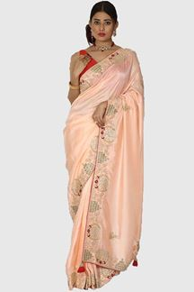 Picture of Refreshing Light Peach Colored Partywear Embroidered Saree