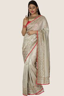 Picture of Trendy Grey Colored Dola Silk Saree