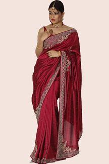 Picture of Sensational Dark Magenta Colored Raw Silk Saree