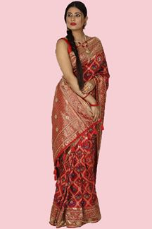 Picture of Attractive Red Colored Banarasi Silk Saree