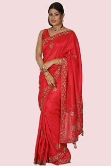 Picture of Ideal Red Colored Partywear Embroidered Saree